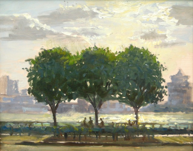 Study for Three Trees, 11 x 14, oil on board