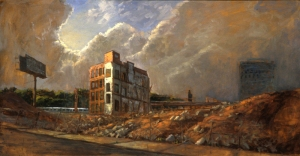 End Of An Era, 30 x 50, oil on linen This painting was done for an exhibit at the New Jerssey School of Architecture which spoke to the demolition of the long time standing Westinghouse Factory in Newark, NJ
