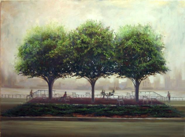 Three Trees In Fog, 30 x 40, oil on canvas