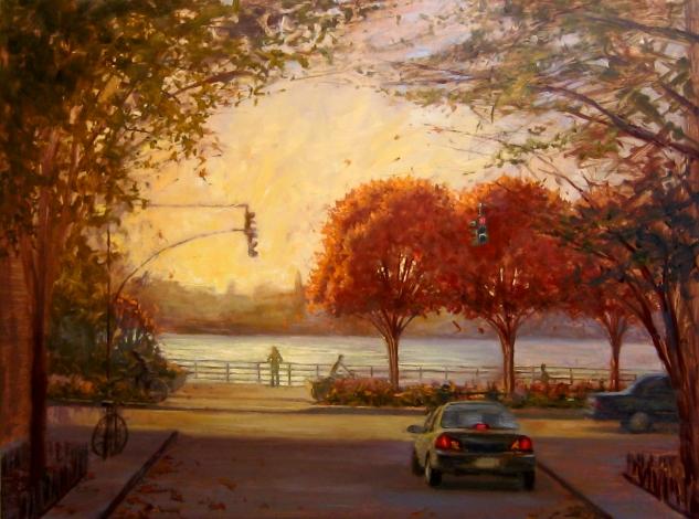 Three Trees In Autumn, 30 x 40, oil on canvas