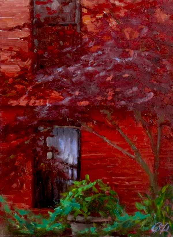 Red Maple Tree Against Red