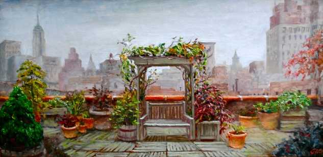 Urban Oasis, 14 x 28, oil on canvas