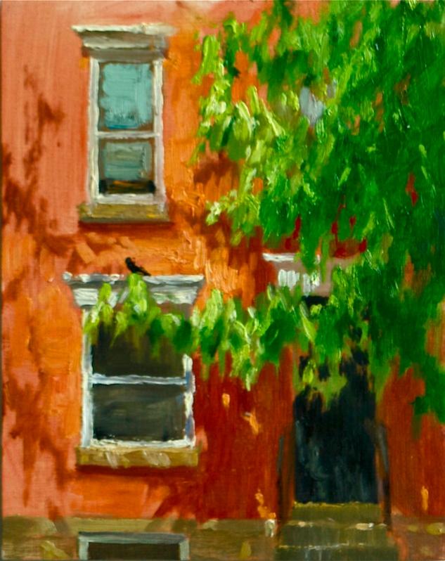 Jessica Dalrymple, Oak Leaves In Spring, 8 x 10, oil on board