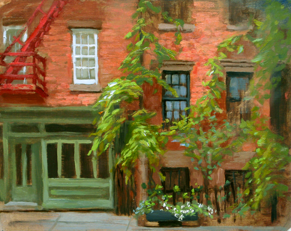 Vines Against Brick, 8 x 10, oil on board (2011)