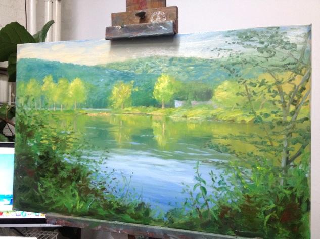 Sky Blue Reflection, 16 x 26, oil on canvas (2014)