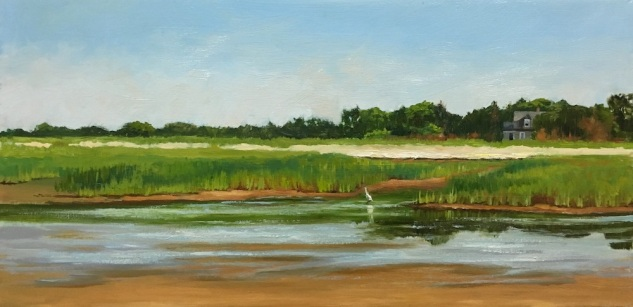 Green & Blue Marsh III, oil on canvas, 12 x 20 Web  Size